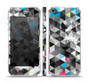 The Modern Black & White Abstract Tiled Design with Blue Accents Skin Set for the Apple iPhone 5