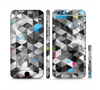 The Modern Black & White Abstract Tiled Design with Blue Accents Sectioned Skin Series for the Apple iPhone 6