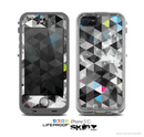 The Modern Black & White Abstract Tiled Design with Blue Accents Skin for the Apple iPhone 5c LifeProof Case