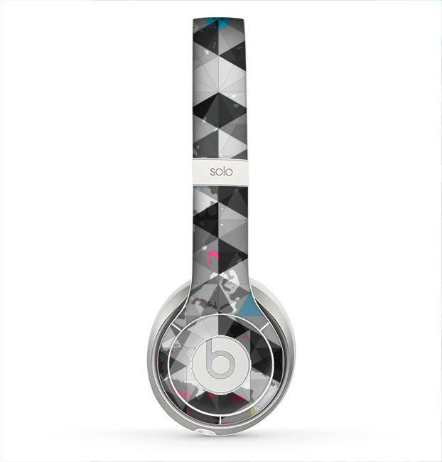 The Modern Black & White Abstract Tiled Design with Blue Accents Skin for the Beats by Dre Solo 2 Headphones