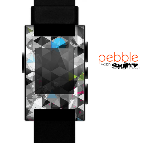 The Modern Black & White Abstract Tiled Design with Blue Accents Skin for the Pebble SmartWatch