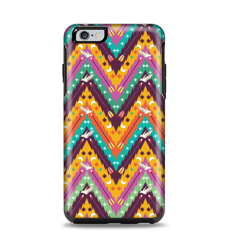 The Modern Colorful Abstract Chevron Design Apple iPhone 6 Plus Otterbox Symmetry Case Skin Set