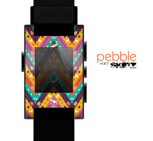 The Modern Colorful Abstract Chevron Design Skin for the Pebble SmartWatch