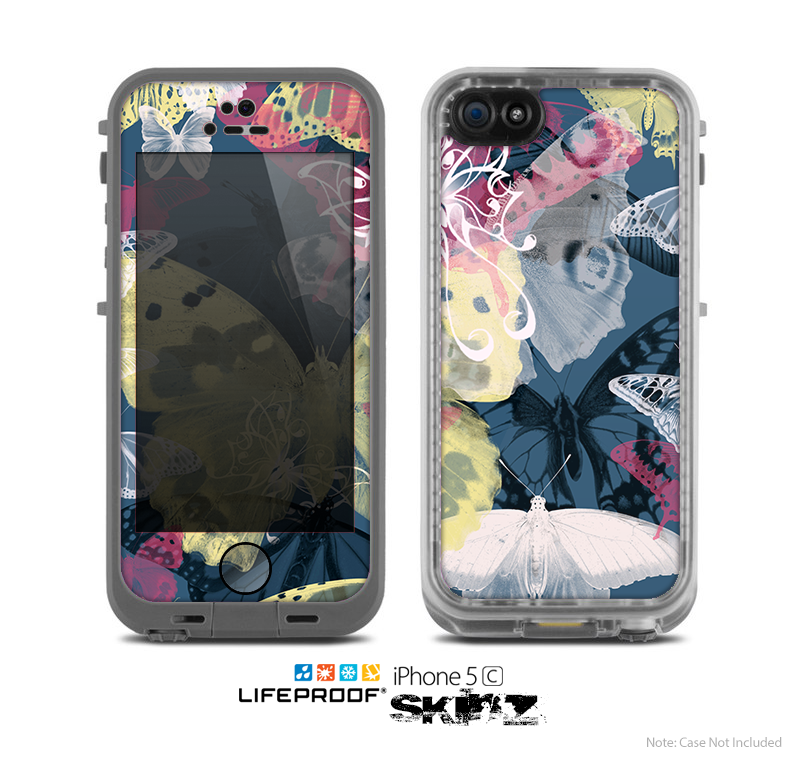 The Multi-Styled Yellow Butterfly Shadow Skin for the Apple iPhone 5c LifeProof Case