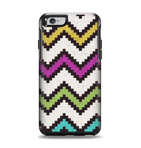 The Multicolored Pixelated ZigZag CHevron Pattern Apple iPhone 6 Otterbox Symmetry Case Skin Set