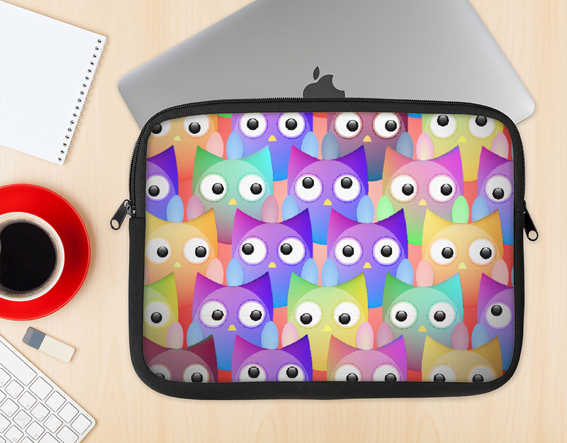 The Multicolored Shy Owls Pattern Ink-Fuzed NeoPrene MacBook Laptop Sleeve