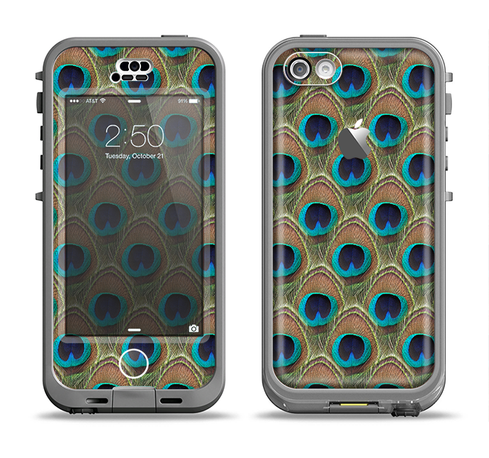 The Multiple Peacock Feather Pattern Apple iPhone 5c LifeProof Nuud Case Skin Set