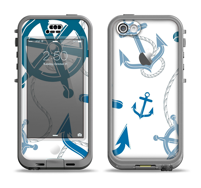 The Nautical Anchor Collage Apple iPhone 5c LifeProof Nuud Case Skin Set
