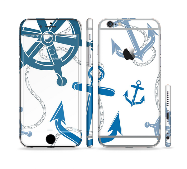 The Nautical Anchor Collage Sectioned Skin Series for the Apple iPhone 6