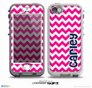 The Navy Blue Name Script & Pink Chevron Pattern Skin for the iPhone 5-5s nüüd LifeProof Case