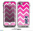The Navy Blue Name Script & Pink & White Ombré V3 Chevron Pattern Skin for the iPhone 5-5s nüüd LifeProof Case