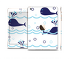 The Navy Blue Smiley Whales Full Body Skin Set for the Apple iPad Mini 3