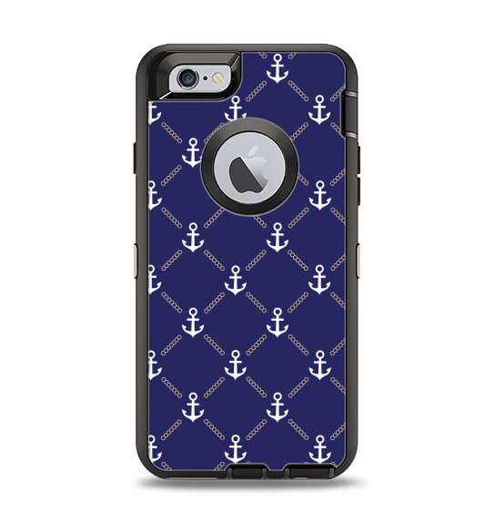 The Navy Blue & White Seamless Anchor Pattern Apple iPhone 6 Otterbox Defender Case Skin Set