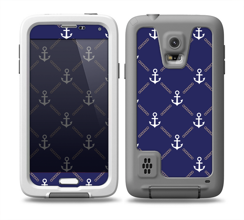 The Navy Blue & White Seamless Anchor Pattern Skin for the Samsung Galaxy S5 frē LifeProof Case