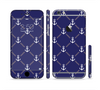 The Navy Blue & White Seamless Anchor Pattern Sectioned Skin Series for the Apple iPhone 6
