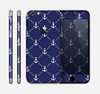 The Navy Blue & White Seamless Anchor Pattern Skin for the Apple iPhone 6