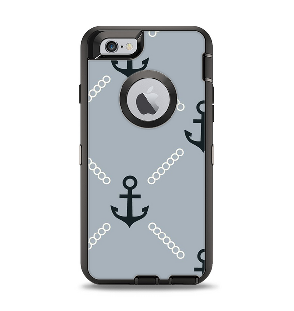 The Navy & Gray Vintage Solid Color Anchor Linked Apple iPhone 6 Otterbox Defender Case Skin Set