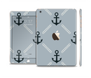 The Navy & Gray Vintage Solid Color Anchor Linked Full Body Skin Set for the Apple iPad Mini 3