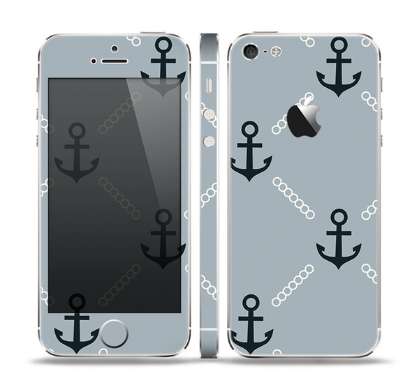 The Navy & Gray Vintage Solid Color Anchor Linked Skin Set for the Apple iPhone 5