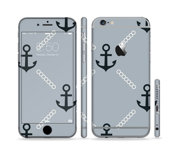 The Navy & Gray Vintage Solid Color Anchor Linked Sectioned Skin Series for the Apple iPhone 6