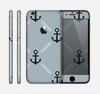 The Navy & Gray Vintage Solid Color Anchor Linked Skin for the Apple iPhone 6