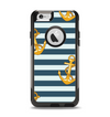 The Navy Striped with Gold Anchors Apple iPhone 6 Otterbox Commuter Case Skin Set