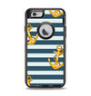 The Navy Striped with Gold Anchors Apple iPhone 6 Otterbox Defender Case Skin Set