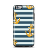 The Navy Striped with Gold Anchors Apple iPhone 6 Plus Otterbox Symmetry Case Skin Set