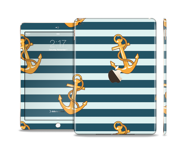 The Navy Striped with Gold Anchors Skin Set for the Apple iPad Pro