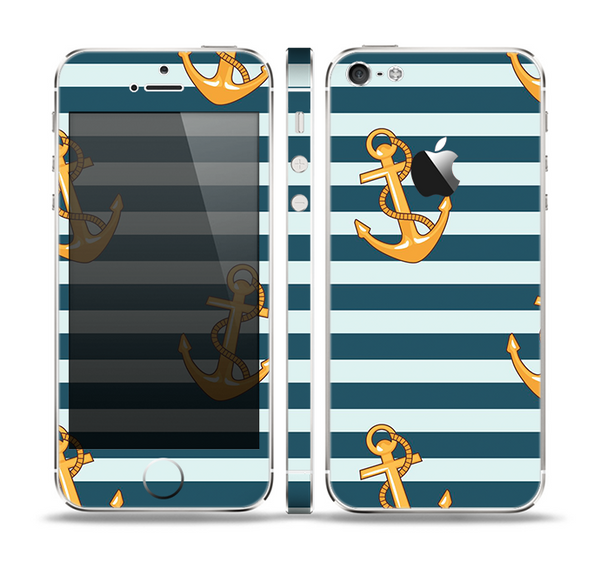 The Navy Striped with Gold Anchors Skin Set for the Apple iPhone 5