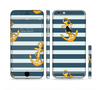 The Navy Striped with Gold Anchors Sectioned Skin Series for the Apple iPhone 6 Plus