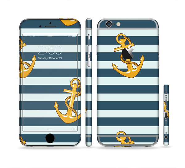 The Navy Striped with Gold Anchors Sectioned Skin Series for the Apple iPhone 6