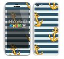The Navy Striped with Gold Anchors Skin for the Apple iPhone 5c