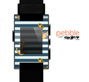 The Navy Striped with Gold Anchors Skin for the Pebble SmartWatch