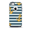 The Navy Striped with Gold Anchors Skin for the iPhone 5c OtterBox Commuter Case