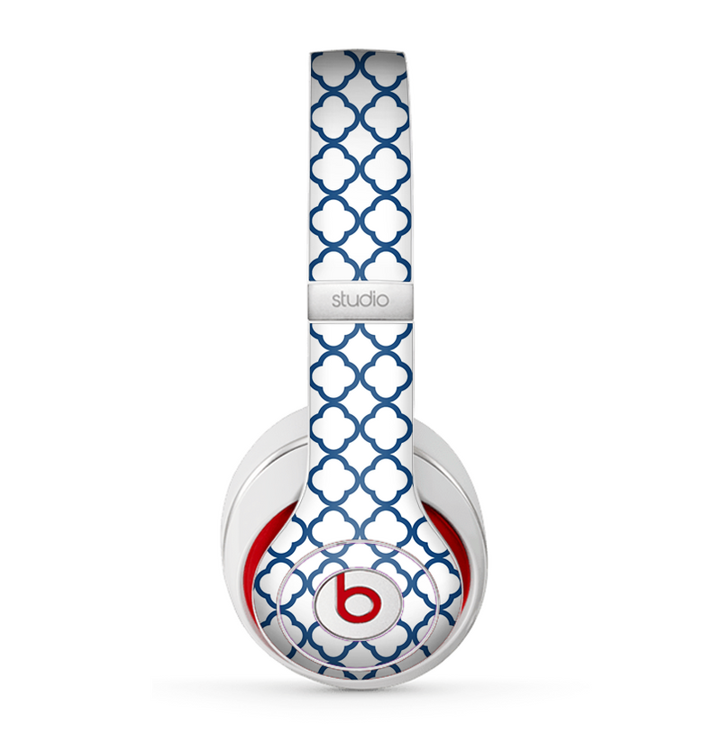 The Navy & White Seamless Morocan Pattern V2 Skin for the Beats by Dre Studio (2013+ Version) Headphones