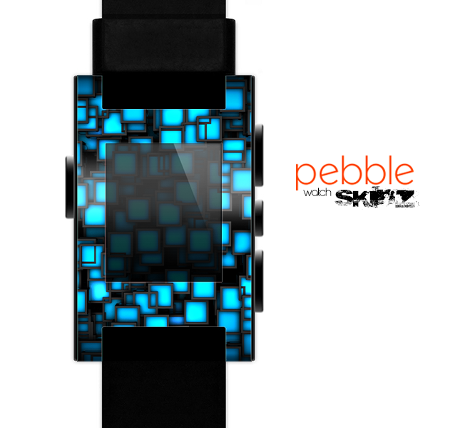 The Neon Blue Abstract Cubes Skin for the Pebble SmartWatch