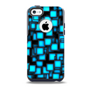 The Neon Blue Abstract Cubes Skin for the iPhone 5c OtterBox Commuter Case