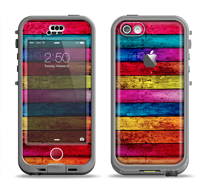 The Neon Color Wood Planks Apple iPhone 5c LifeProof Nuud Case Skin Set