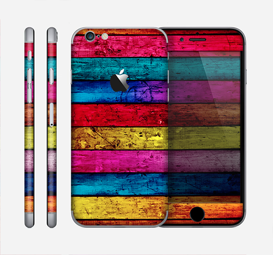 The Neon Color Wood Planks Skin for the Apple iPhone 6