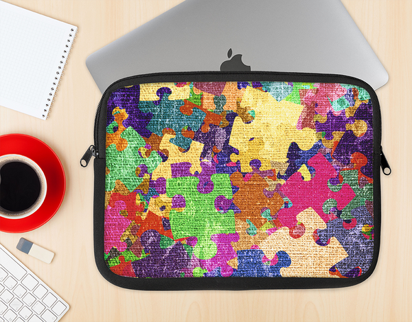 The Neon Colored Puzzle Pieces Ink-Fuzed NeoPrene MacBook Laptop Sleeve