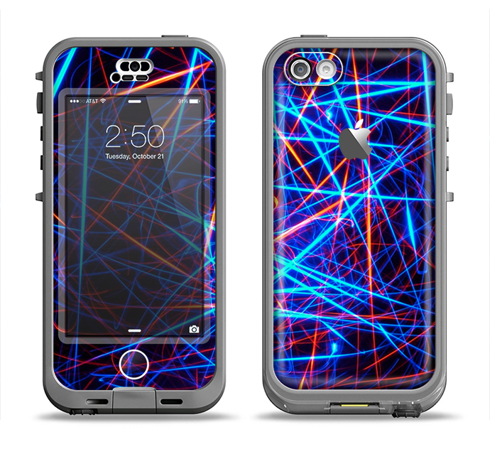 The Neon Glowing Strobe Lights Apple iPhone 5c LifeProof Nuud Case Skin Set