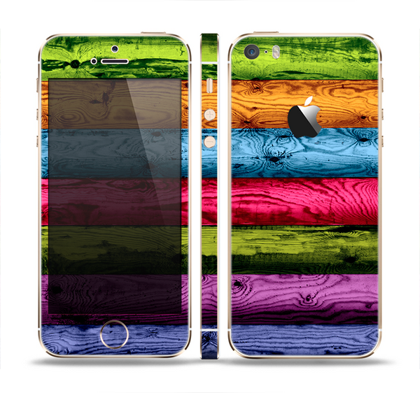 The Neon Heavy Grained Wood Skin Set for the Apple iPhone 5s