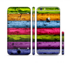 The Neon Heavy Grained Wood Sectioned Skin Series for the Apple iPhone 6 Plus