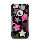 The Neon Highlighted Polka Stars On Black Apple iPhone 6 Otterbox Commuter Case Skin Set