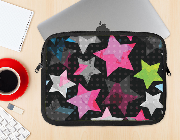 The Neon Highlighted Polka Stars On Black Ink-Fuzed NeoPrene MacBook Laptop Sleeve