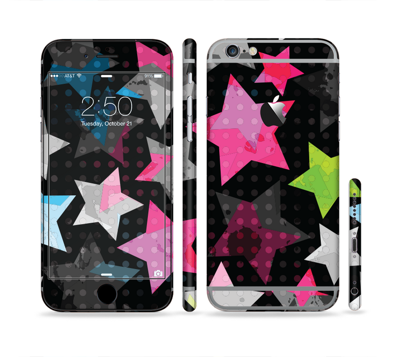 The Neon Highlighted Polka Stars On Black Sectioned Skin Series for the Apple iPhone 6s