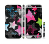 The Neon Highlighted Polka Stars On Black Sectioned Skin Series for the Apple iPhone 6 Plus