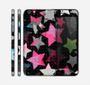 The Neon Highlighted Polka Stars On Black Skin for the Apple iPhone 6 Plus