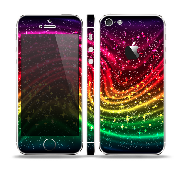 The Neon Mixed Color Starry Waves Skin Set for the Apple iPhone 5